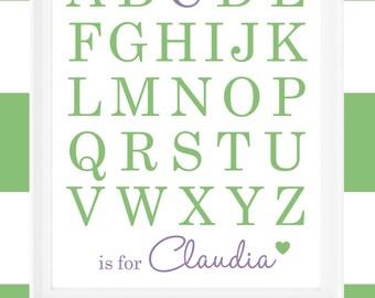 Printable 8x10 print ABCs with Name