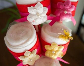 Baby Shower Table Decoration or Gift - Red Felt Diaper Cake Pops