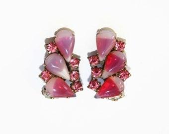 Vintage Pink Rhinestone Earrings - Pink Givre Rhinestone Earrings