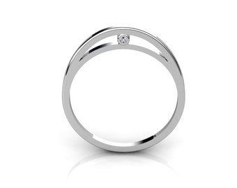 Delicate modern 14K White Gold ring with White Diamonds