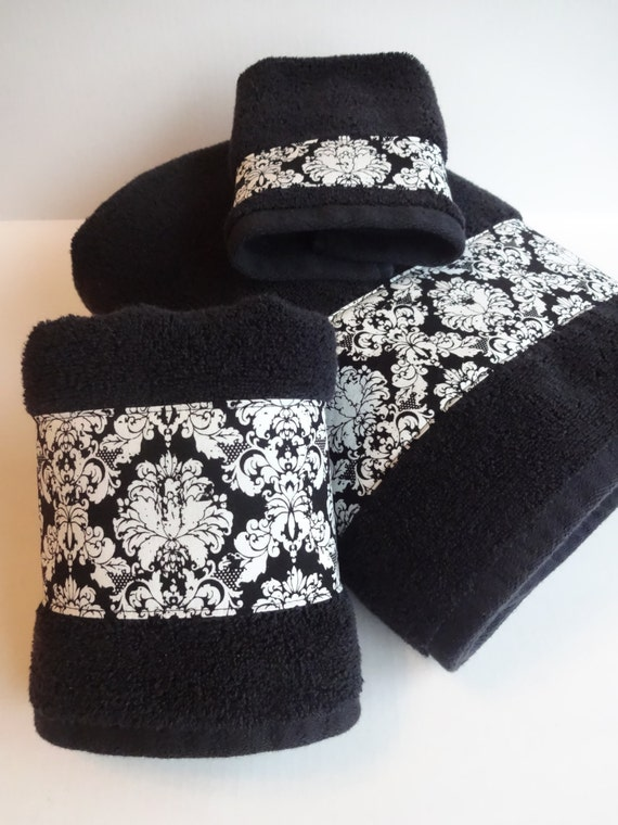Black Damask Bath Towels Black Damask Black Towels Hand