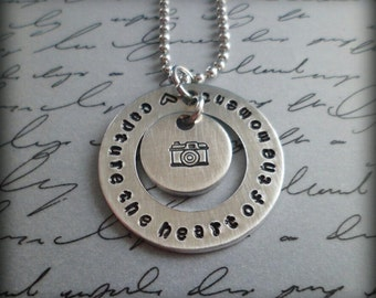 """Hand Stamped """"Capture the Heart of the Moment"""" Pendant"""