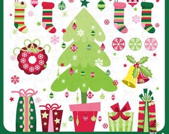 "Christmas ClipArt ""CHRISTMAS CLIP ART""set,Christmas Tree,Christmas presents,wreath,stocking,snowflake,christmas ornament,invitation Cm008"