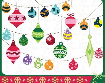 """Christmas ClipArt """"CHRISTMAS ORNAMENTS"""" clip art pack, Christmas Ornaments, Decorations, perfect for Scrapbook,Cards,Invitations,Cm017"""