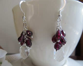 Garnet cluster earrings, January birthstone earrings, Crystal Quartz earrings, Sterling silver earrings, Dangle earrings, Faceted earrings