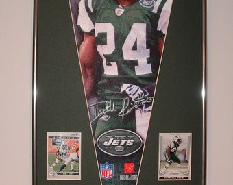 NY Jets Darrelle Revis Pennant & Cards...Custom Framed!!!