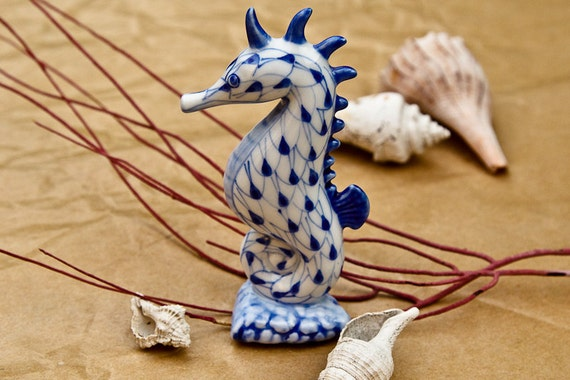 Blue Amp White Porcelain Seahorse Faux Herend Fishnet By Propz