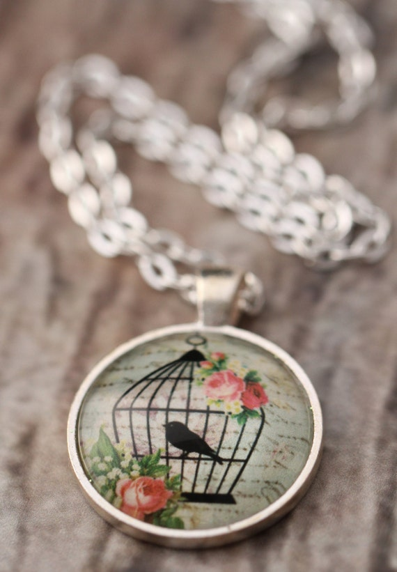 FREE SHIPPING Green Shabby Chic Birdcage Necklace - silver or bronze pendant necklace