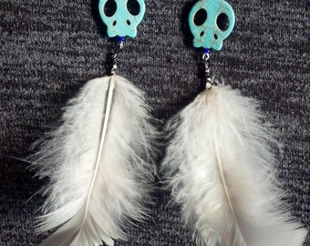 Turquoise Skull and White Feather Earrings