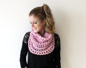 50% OFF Knit Scarf Chunky Cowl Pink - The Ellicott Cowl