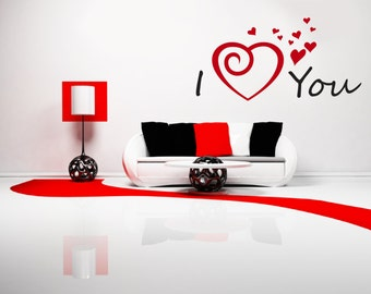 I Love (Heart) You Removable Wall Art Decor Decal Mural Romantic Valentine