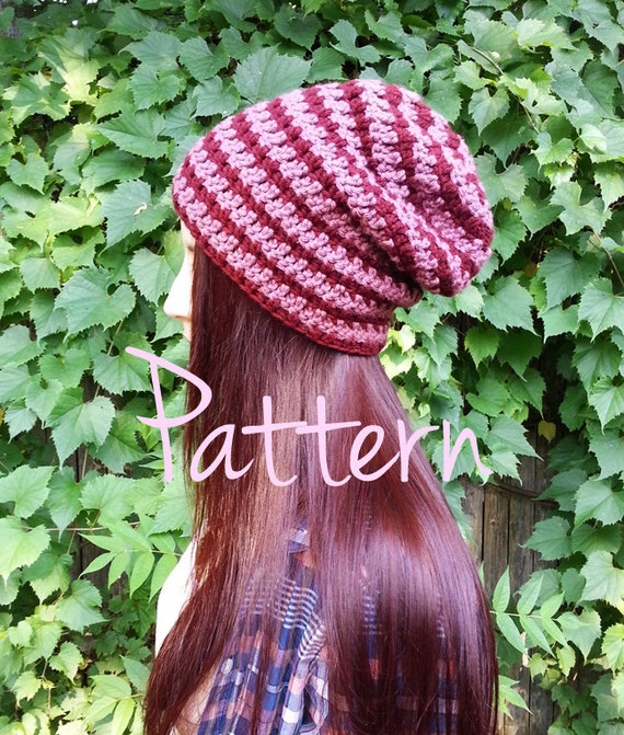 Crochet Pattern Slouchy Beanie Basic Hat Easy Beginner PDF Tutorial Download Striped Summer Winter Slouch Cute Comfy Woman Womens Teen
