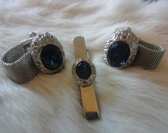 Vintage Costume Faux Silver Nugget  Blue Sapphire Cuff Links and Tie Clip Set