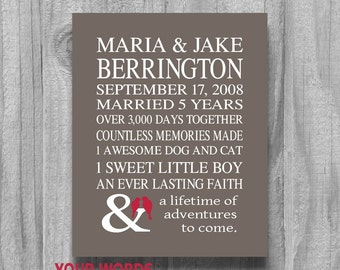 Personalized Anniversary Gift 5 Or 10 Year Our Love Story