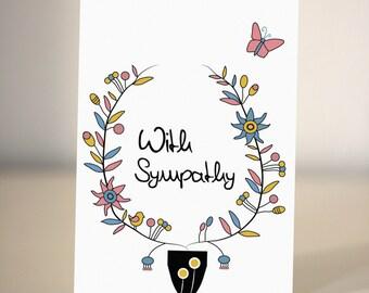 Sympathy Card  - With sympathy - condolence card