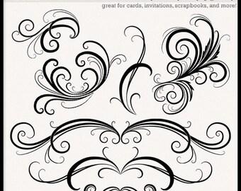 INSTANT DOWNLOAD Flourish and Swirl Clip Art -- clipart, flourish, swirl, decoration, graphic, design