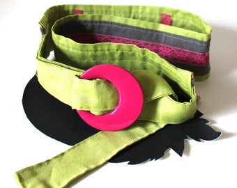 """Belt Chartreuse Hot Pink and Gray Adjustable 32"""" to 39"""""""