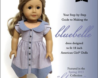 Pixie Faire Melody Valerie Couture Bluebelle Dress Doll Clothes Pattern for 18 inch American Girl Dolls - PDF