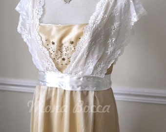 Edwardian Dress plus size handmade in England cream stone Titanic Downton Abbey vintage styled with ivory lace and Swarovski crystals