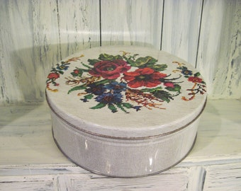 Vintage floral pattern large tin box canister, large tin sewing basket, round tin container, floral pattern tin container, large cookie tin