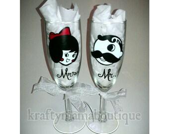 Mr. Natty Boh - Mrs. Utz Painted Glassware Set