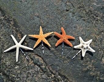 Set of 4 Cute Starfish Mermaid Bobby Pins Hair Accessories - Bridal Accessories, Ariel Mermaid Hair clip, Starfish Hair Accessories