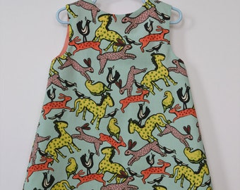 Appalachian Folk Art Artisanal Child's Dress -  Rabbits - Hares - Horses - Birds - All Cotton Hand Made - Turquoise Coral Yellow and Pink