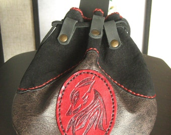 Medieval Wolf Celtic Hobbit Style Leather Belt Pouch