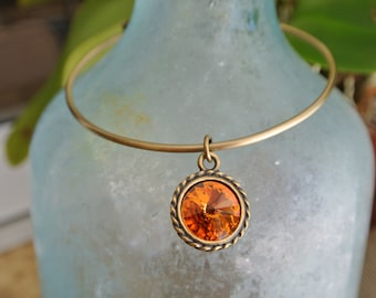 Adjustable Bangle Bracelet with a Topaz Crystal Swarovski Charm.  Available in 3 Finishes