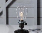 Industrial Desk Light - Wire Cage Table Lamp - Vintage Style Lighting