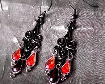 Heartdrop: Vamp Chandelier Earrings (Black Heart Filigree with Red/Black Gem Droplets)