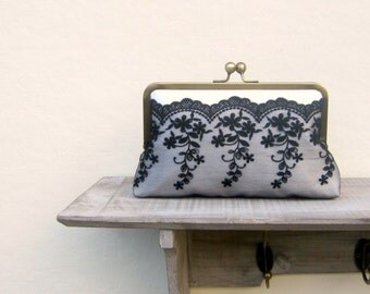 Black and white clutch bag, lace wedding clutch, black and white bridal clutch, black and white bridesmaid clutch, clutch purse, uk seller
