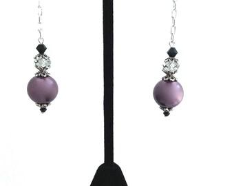 Long Chain Earrings, Chain Dangle, Pearl Chain, Purple Pearl Dangle, Black Romantic Jewelry