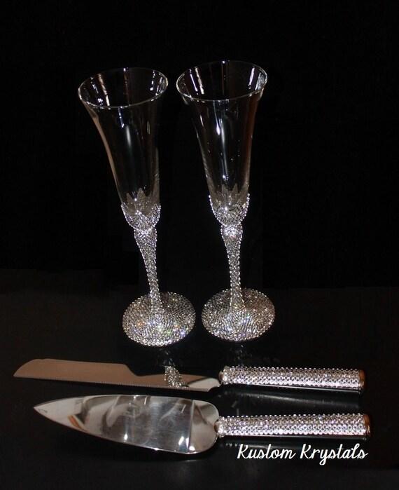 Cake Serving Set Champagne Toasting Flutes Full Stem