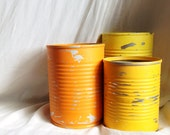 Sunset colored cans, painted and distressed vintage style vases, orange, goldenrod and yellow, different sized home decor