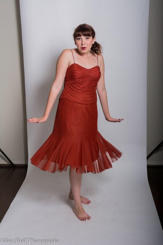 Burnt Orange, Rust Women's Formal Tea Length Dress Size 12