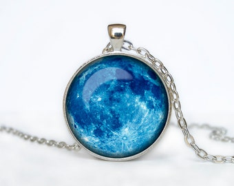 Full Moon Necklace Moon Pendant  Space  Galaxy Blue Moon  Jewelry