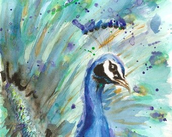 PEACOCK ART PRINT Peacock Painting Farm Decor Animal Art
