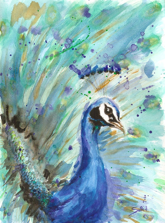 PEACOCK ART PRINT Peacock Painting Farm Decor Animal Art