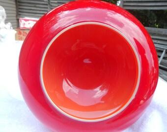 Vintage Depression Red UFO Shaped Bowl Ann Arbor Michigan
