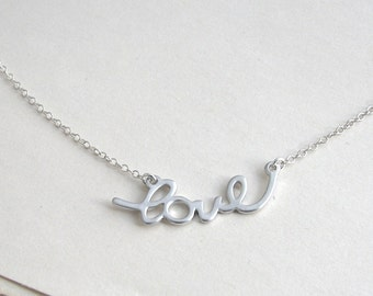 LOVE pendant, Love Necklace, Love Charm Necklace, Silver Word Pendant, Feminine Silver Necklace, Word Necklace - Sterling Silver Chain