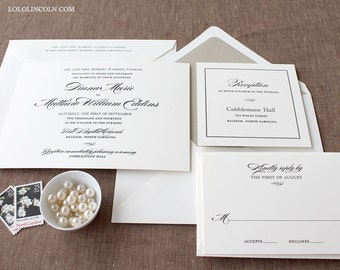 Wedding Invitations, Classic Wedding Invitations, Formal Wedding Invitations, Black Tie Invitations, Mary Jane Classic Wedding Invitation