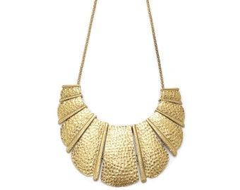 Golden fan bib  necklace, gold statement necklace