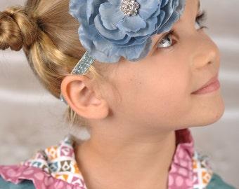 Blue Grey Headband, Gray Flower Headband, Grey Flower Headband, Steel Blue Headband, Newborn Photo Prop, Adult headband, Baby Shower Gift