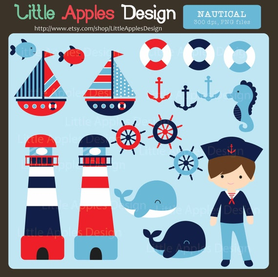 Nautical Clip Art / Nautical Clipart / Sailor Clipart / Boat