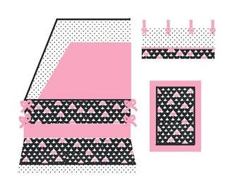 Baby girl Bedding Set Heart Pink and Black Crib Set
