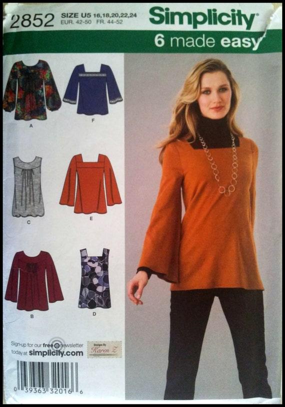 Simplicity 2852  Misses' Knit Tunics Or Top  Size (16-24)  UNCUT