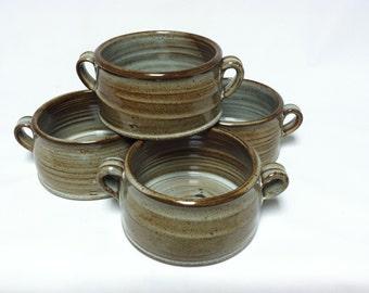 handmade bowls, soup bowls, stoneware bowls, rustic bowls, pottery bowls, ceramic bowl, blue, chowder bowls, onion soup, bowls with handles