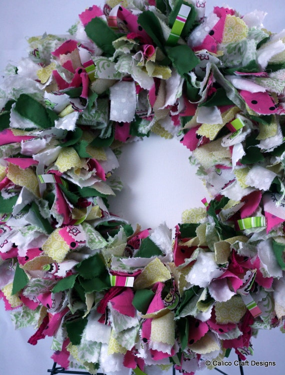 Great for Easter, Spring, or Summer! --- Pink, Green, White, and Yellow Fabric Rag Wreath