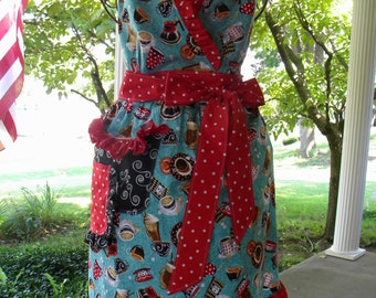 Retro Coffee Apron/ruffles, dots and coffee cups, full apron